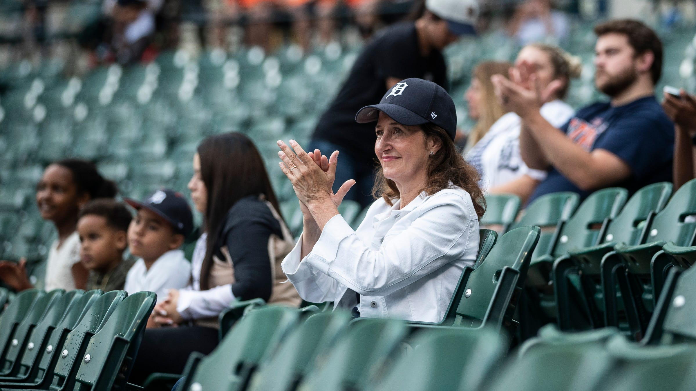 Baseball fans cheer as starting lineup from both teams are announced before Tigers game against Seattle Mariners at Comerica Park in Detroit, Tuesday, June 8, 2021.