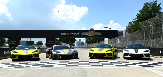 (From left): A 2022 Corvette Stingray IMSA GTLM Championship Edition vehicle, the Corvette C8.R race car, another championship edition Stingray and the Corvette pace car, as parked at the Grand Prix finish line,  Wednesday afternoon, June 9, 2021.