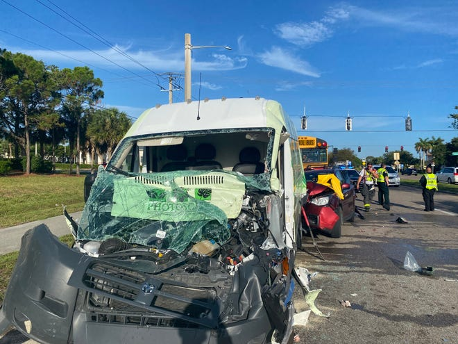A four-vehicle crash involving an empty Lee County school district bus left one driver in serious condition and blockage on Daniels Parkway near Palomino Lane Wednesday.