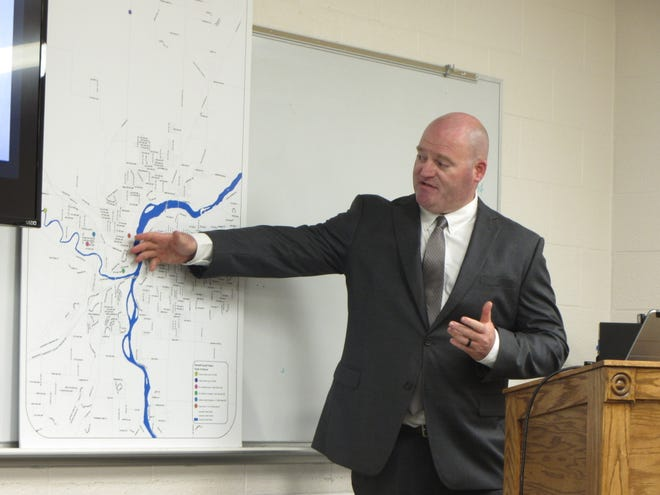Cascade County Sheriff's Office Detective Sergeant Jon Kadner refers to a map of the Great Falls area while describing the 1956 murders of  Patricia Kalitzke and Lloyd Duane Bogle.