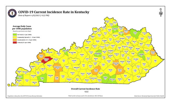 The COVID-19 current incidence rate map for Kentucky as of Tuesday, June 8.