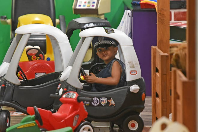 Jaxon Knapp, age 5 of Mansfield, patrols the upstairs of the Little Buckeye Children's Museum on Wednesday.