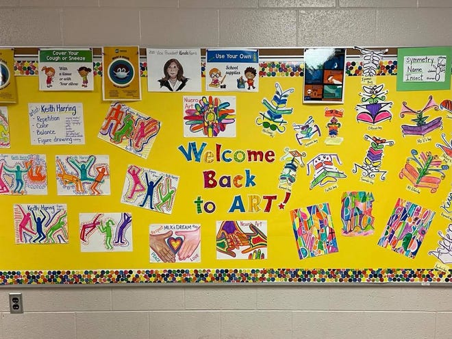 A display welcomed MPS students back to school after a period of virtual learning.