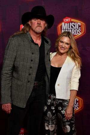 Trace Adkins and Victoria Pratt arrive for the 2021 CMT Music Awards at Bridgstone Arena in Nashville, Tenn, on Wednesday, June 9, 2021.