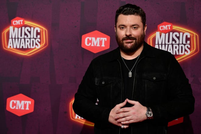 Chris Young arrives for the 2021 CMT Music Awards at Bridgstone Arena in Nashville, Tenn, on Wednesday, June 9, 2021.