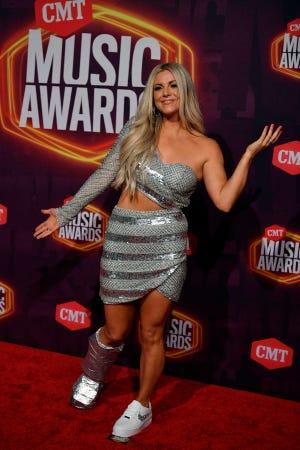 Lindsay Ell arrives for the 2021 CMT Music Awards at Bridgstone Arena in Nashville, Tenn, on Wednesday, June 9, 2021.