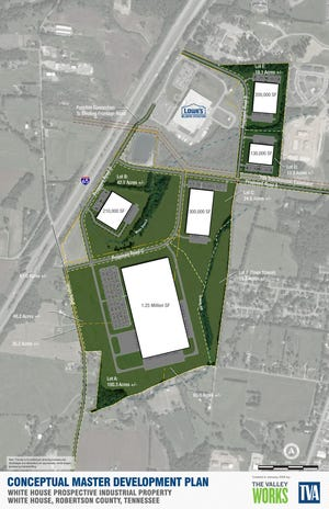 A conceptual plan for plans to develop a business park in White House.