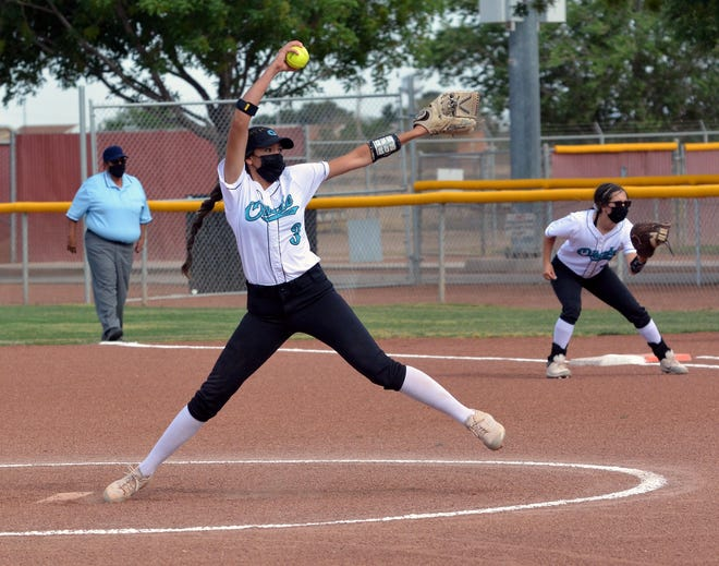 Jaileen Mancha took the circle in the first game of a doubleheader on Tuesday night against the Centennial Lady Hawks.