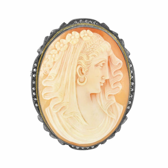 Cameos are carved in bas-relief from bone or shell in the traditional way.
