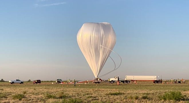 NASA's high altitude weather balloon took off from Fort Sumner, New Mexico, and was spotted floating across the Arizona sky on June 8, 2021. NASA Wallops officials tweeted this photo on June 9, 2021.