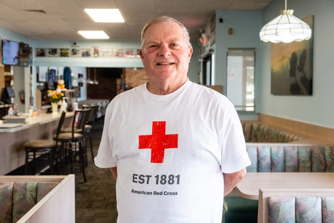 Joe Pavlov poses for a portrait Wednesday, June 9, 2021, at Ocean Breeze in Marysville. Pavlov has donated at least 200 pints of blood.