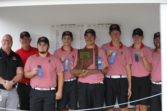 Richmond boys golf won its 2021 sectional with a team score of 328 at Elks County Club on June 7, defending its previous title from 2019.