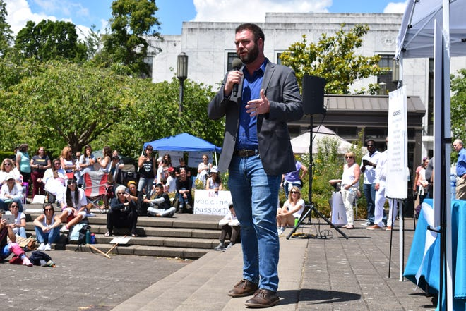 Republican Sen. Dallas Heard of Roseburg speaks at the Oregonians for Medical Freedom Vigil, an event to protest mask mandates and vaccine passports, at the Oregon State Capitol on Wednesday, June 9, 2021.