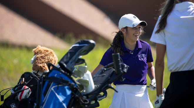 Beresford sophomore Maiya Muller talks to other golfers in her group after teeing off on the first hole during the 2021 Girls' State A Golf Tournament at Spearfish Canyon Country Club on Tuesday in Spearfish.