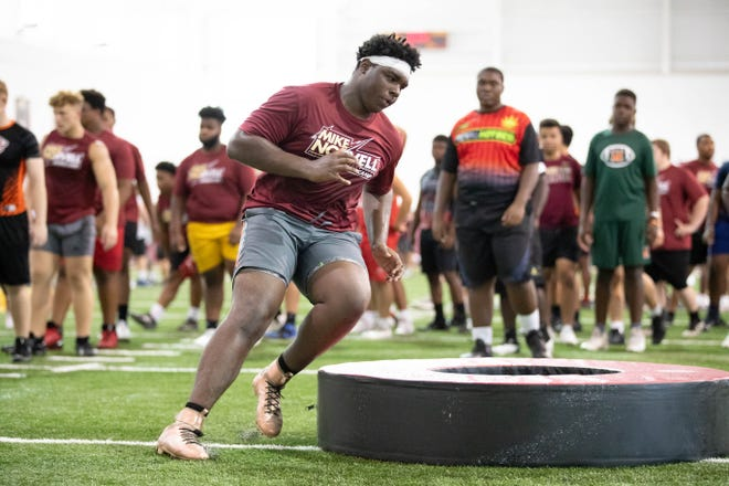 With the dead period lifted on June 1, Florida State held Mike Norvell's Big Man Camp at the school's indoor practice facility on June 9.