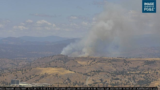 The Gold Fire is burning 35 acres near Lake Millerton on Wednesday afternoon. Two hikers were airlifted from a lakeside recreation area as firefighters work to contain the fast-moving blaze.
