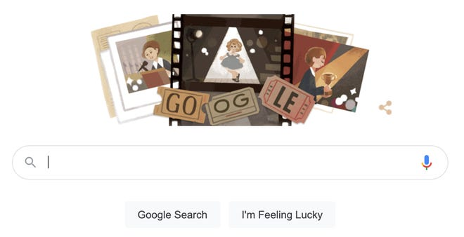 A Google Doodle honoring Shirley Temple.