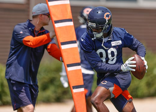 Chicago Bears receiver Riley Ridley runs drills during organized team activities at Halas Hall on June 9.
