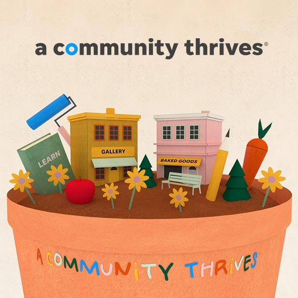 A Community Thrives initiative graphic.