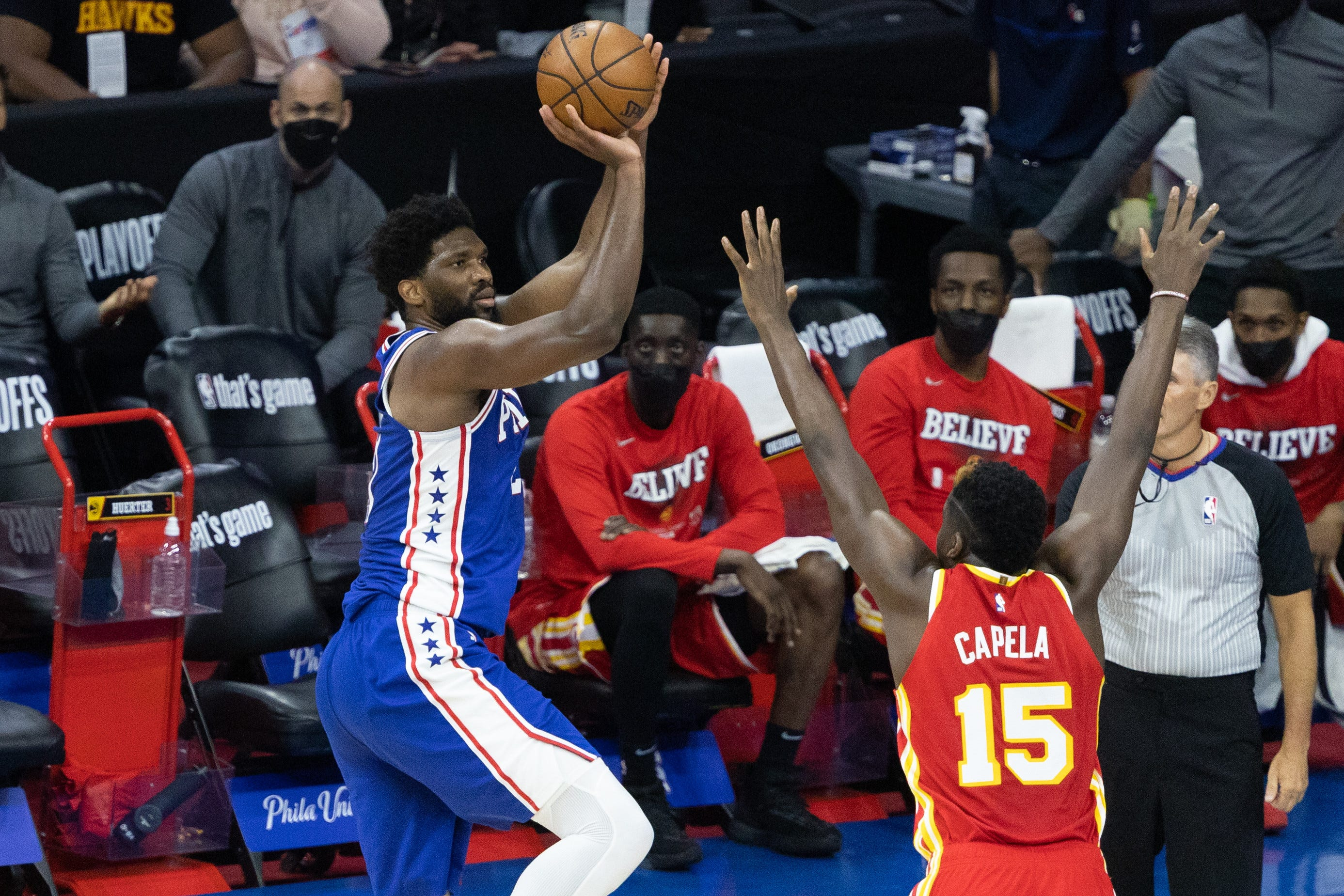Sixers run away from Hawks in Game 2 to even series behind Joel Embiid's playoff career-high