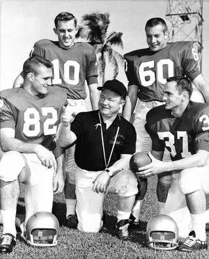 Coach Wally Butts of the University of Georgia, Outlines a few of  the ideas to be used against their opponents in the Orange Bowl game, December 27, 1959. Left to right: Jimmy Vickers, (82); Frances Tarkenton (10); Pat Dye (60); and Don Soberdash (37). (AP Photo)
