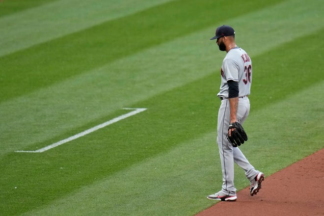 Cleveland starting pitcher J.C. Mejia didn't make it out of the first inning in an 8-2 loss to the St. Louis Cardinals on Wednesday night. [Jeff Roberson/Associated Press]
