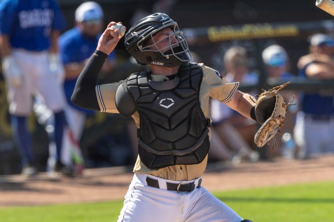 Amarillo catcher Cayden Phillips looks to throw to second against Mont Belvieu Barbers Hill during a Class 5A UIL state baseball semifinal game in Round Rock, Thursday, June 10.