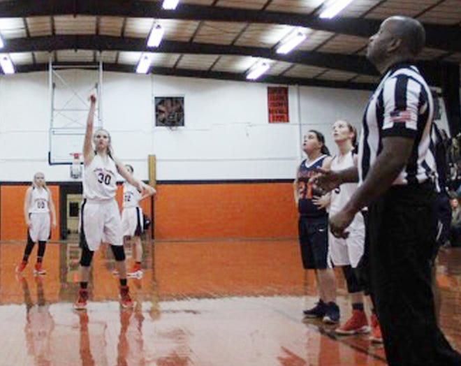 Laurissa McKinnie shoots a free throw for the Glascock County Lady Panthers.