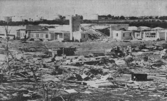 Skelly Elementary School in El Dorado after a tornado swept through a residential area in the southwestern part of town