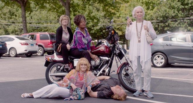 """Queen Bees"" follows the misadventures of four retirement home residents (clockwise, from right): Helen (Ellen Burstyn), Margot (Ann-Margret), Janet (Jane Curtin), and Sally (Loretta Devine)."