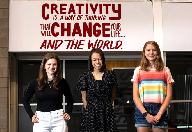 From left: Wendy Wasserstrom, Alina Baer and Luna Atkins-Hanshaw were winners in the 2021 Film Columbus Teen Screenwriting Competition.