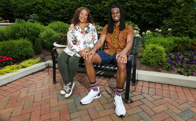 Jasmine Sardari, left, from Gahanna and Matthew Wilmot, from Columbus, pose for portrait in Dorrian Commons Park in Columbus on June 10. Both are participants in the Black Community Ambassador Support Program.