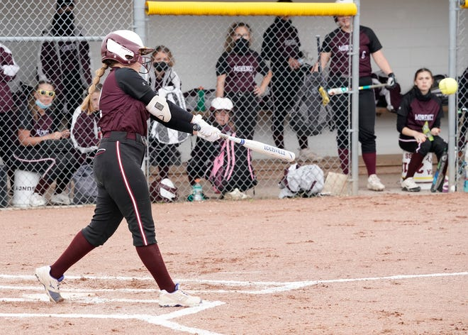 Morenci's Ellie Price hits a double during a game against Addison in the 2021 season.