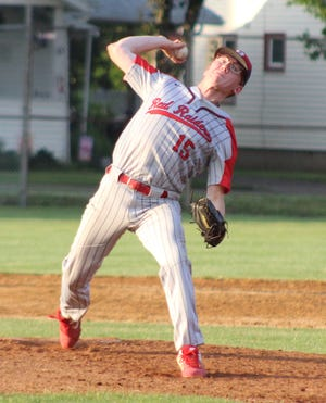 Hornell's Collin Burdett delivers a fastball to the plate during Wednesday's win in the Class B1 tournament.