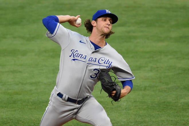 Kansas City Royals starting pitcher Jackson Kowar (37) delivers a pitch during the first inning against the Los Angeles Angels Monday at Angel Stadium. Kowar, who was roughed up for four runs while getting just two outs in his major league debut, will make his second start Saturday at Oakland.