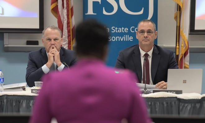 Duval Schools Superintendent Diana Greene addresses Florida Department of Education Commissioner Richard Corcoran and the state Board of Education at a meeting at Florida State College at Jacksonville on June 10, 2021.