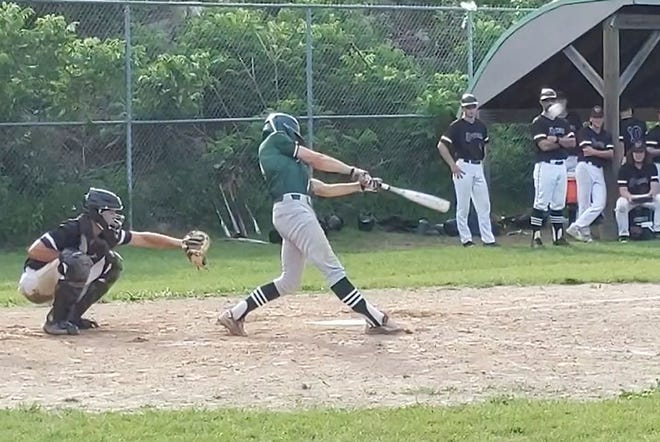Oakmont's Patrick Forbes hit an RBI double to left field during the Spartans' 13-3 victory over Blackstone Valley Tech in a CMADA Division 2 Tournament quarterfinal, Wednesday, in Ashburnham.