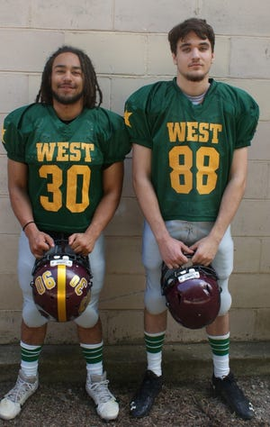 Jayvon Pruitt, left, and Trenton Engel will represent the Victoria Knights in the Eight-Man Division II All-Star Game on Saturday in Beloit.