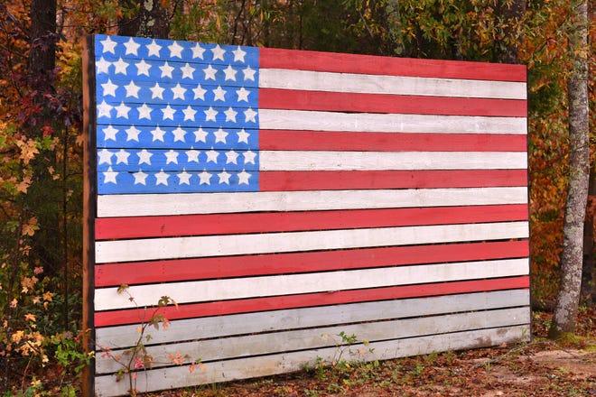 A homemade flag in Gaffney, South Carolina.