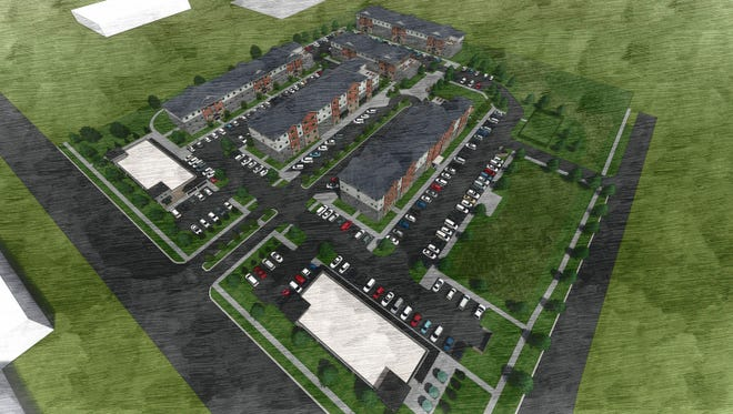 A rendering of HOM Flats at 24 East. The development will include five buildings with 191 units and two buildings with multiple commercial tenants.