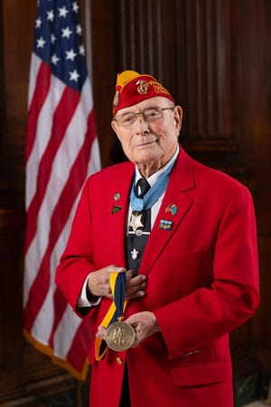 """Hershel """"Woody"""" Williams  was awarded the Medal of Honor after fighting on Iwo Jima in 1945 as a member of the U.S. Marines' 3rd Division. He is scheduled to preside as grand marshal of the AutoZone Liberty Bowl scheduled Dec. 28, 2021."""