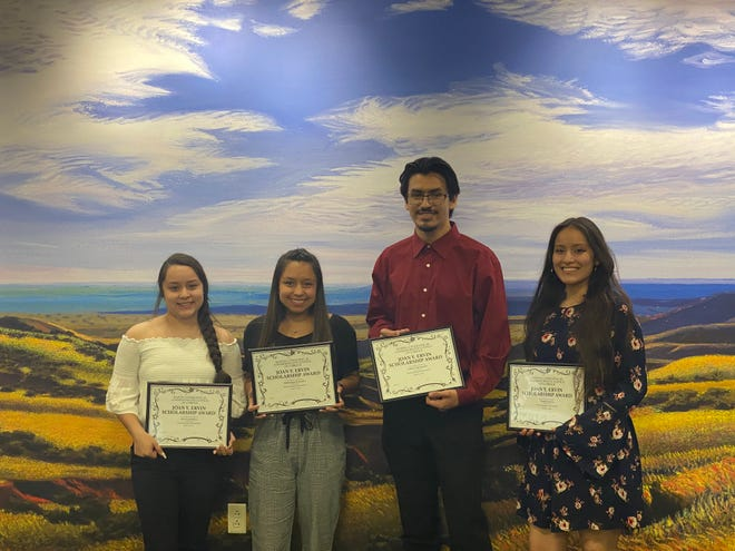 From left to right, Alyssa Gonzalez, Dominique Gonzalez, Gabriel Hernandez and Trinity Garcia, received the $500 Joan Y. Ervin scholarship awarded by Lubbock'sMLK Commemorative Council ScholarsProgram during a ceremony this month in Lubbock. Not pictured is Isabella Colquette-Romo.