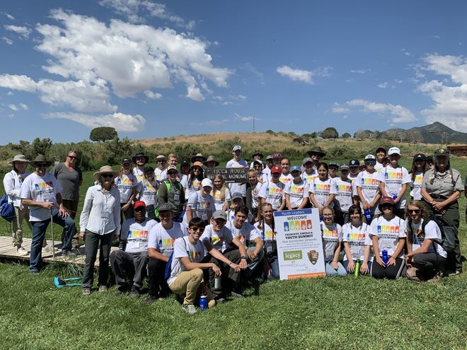 Attendees of the 2019 Preserve America Youth Summit at the Yucca House National Monument in Montezuma County, Colorado