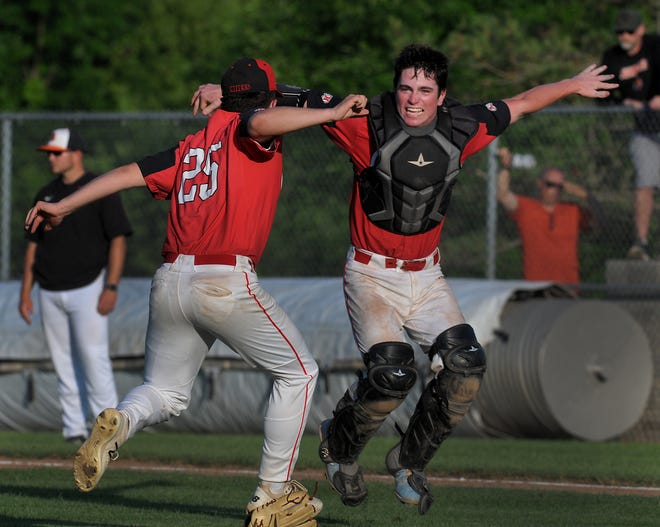 New Boston Huron pitcher Thomas McSwain (left) celebrates with catcher Brendon Pasut after Huron beat Tecumseh 6-4 in the Division 2 Regional semifinals at Chelsea Wednesday.