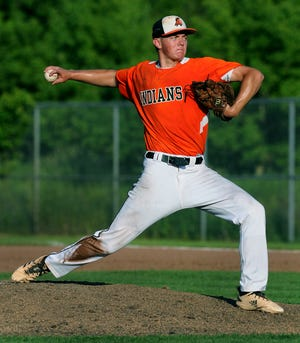 Tecumseh pitcher JJ Arbini delivers a pitch in the later innings of Tecumseh's Division 2 regional semifinal against New Boston Huron on Wednesday, June 9, at Chelsea High School.
