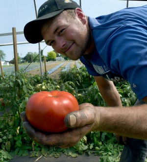 Produce farmer Tye Thompson of Dundee is proud of his early tomatoes. He has grown them from just seeds in his greenhouse. He sells them on his mobile produce wagon stands, which he owns with his wife, Holly.