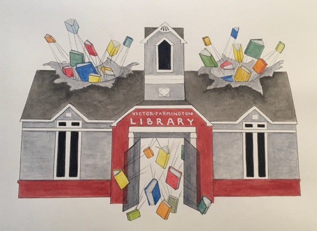 A rendering of the current library bursting at the seams by local artist Peggi Heissenberger.