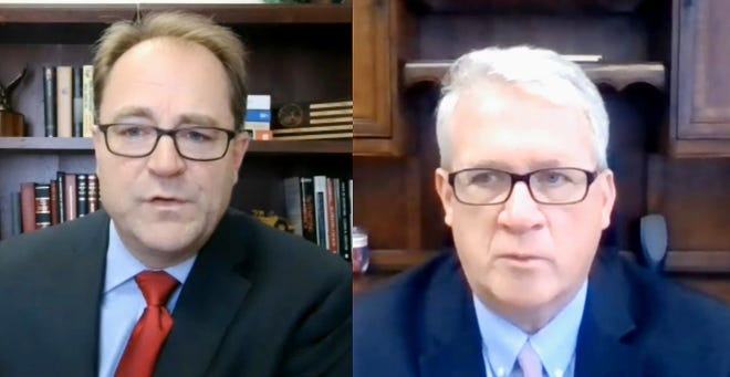 Senate Minority Leader Dan McConchie (left) and House Minority Leader Jim Durkin are pictured in a virtual news conference earlier this year. The two leaders filed a lawsuit this week challenging the new legislative maps passed by Democrats and signed into law by Gov. JB Pritzker last week.