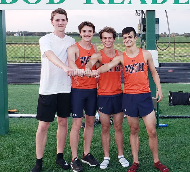 Pontiac's 4x800 team — from left, Donovan Murphy, Ethan Schickel, Sam Fogarty and Aidan Lee — placed first in the event to advance to the state meet. PTHS placed third overall at the Class 2A Geneseo Sectional Wednesday.