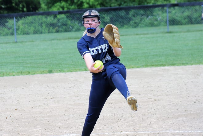 Exeter pitcher Kristen Beebe is laser focused during Wednesday's Division I semifinal playoff game against Salem in Exeter.